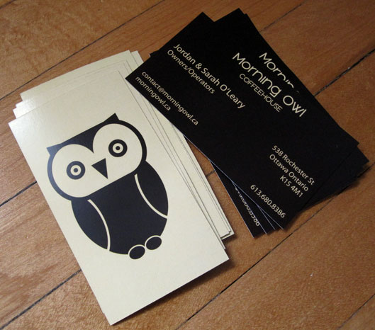 Morning owl coffeehouse corey timpson design for Owl business cards